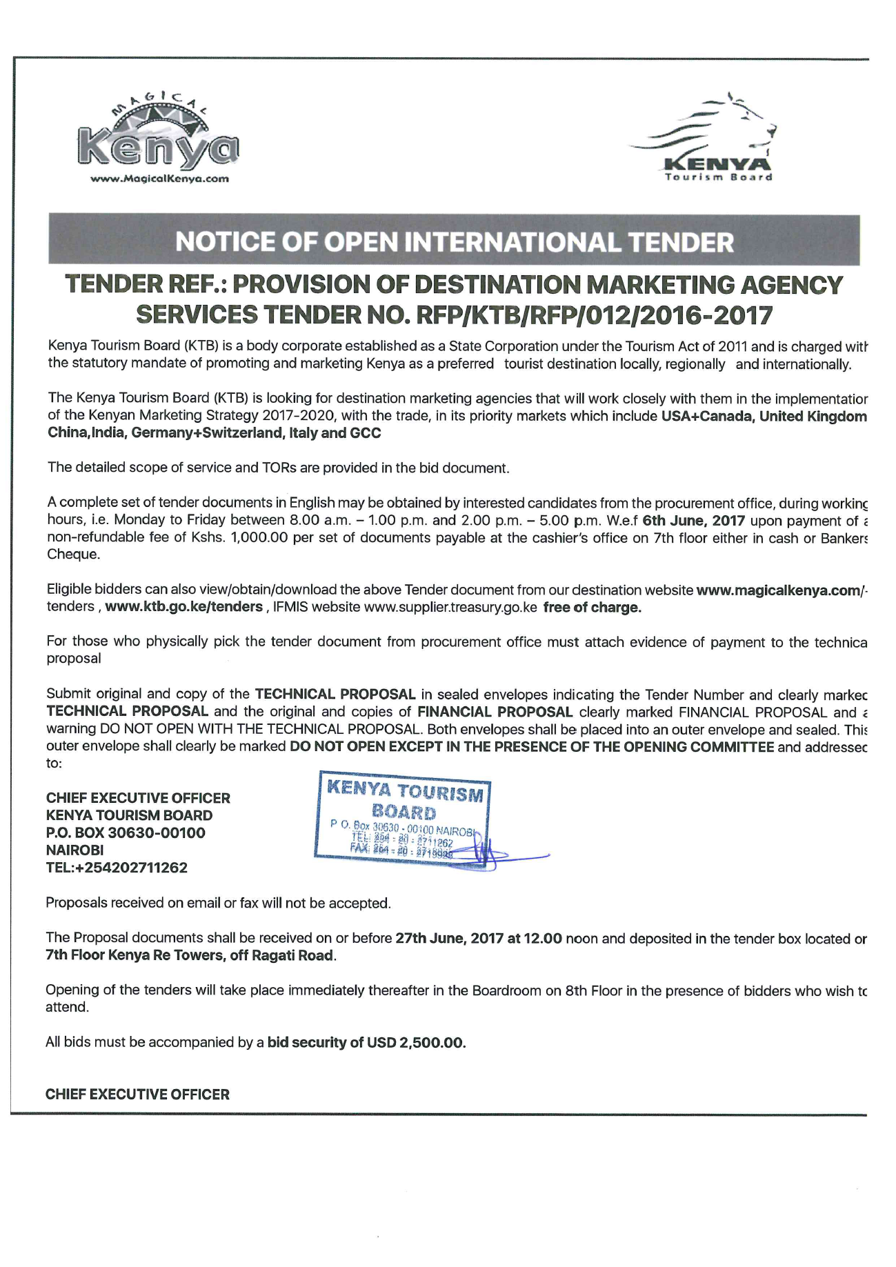 Kenya's Tourism Board issues PR tender document for global bids