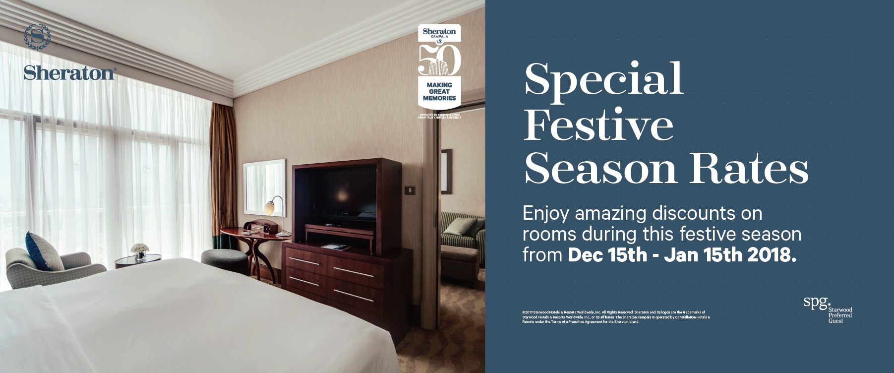 The Sheraton Kampala - open for business this festive season at very special rates ...