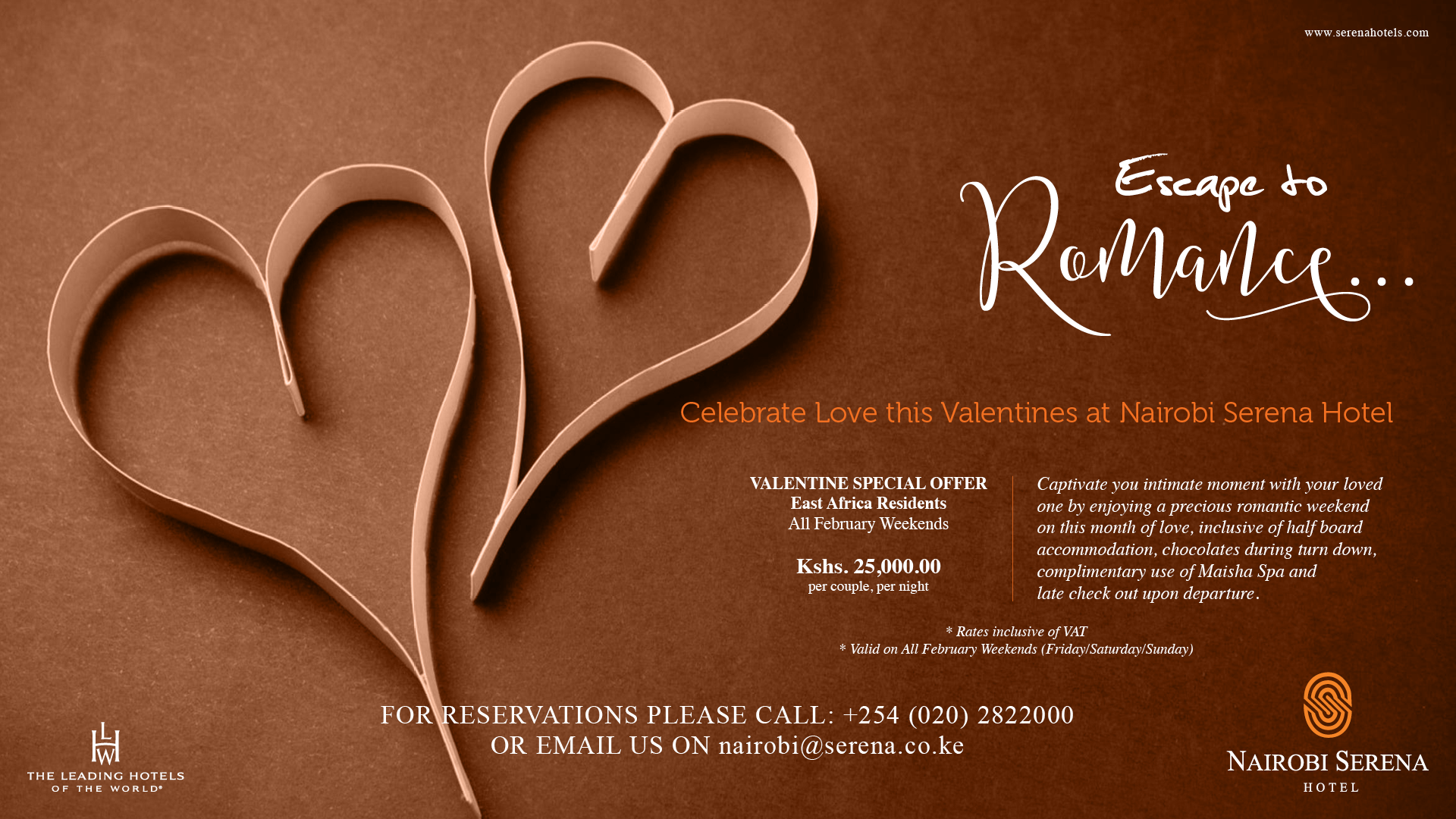 Escape to the Nairobi Serena for a Romantic Weekend all February
