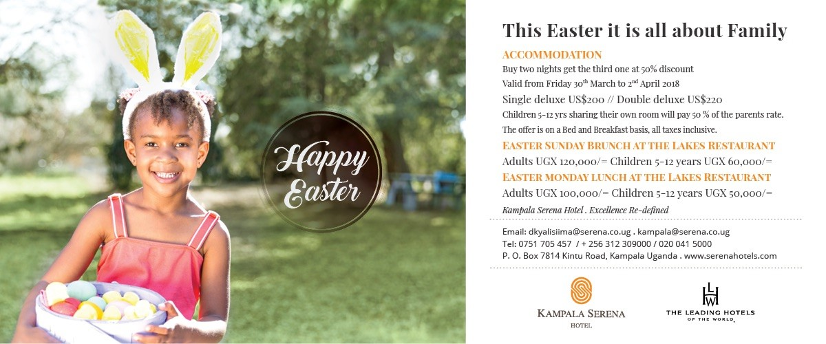 Surprise your loved ones with Easter specials galore at the Kampala Serena Hotel