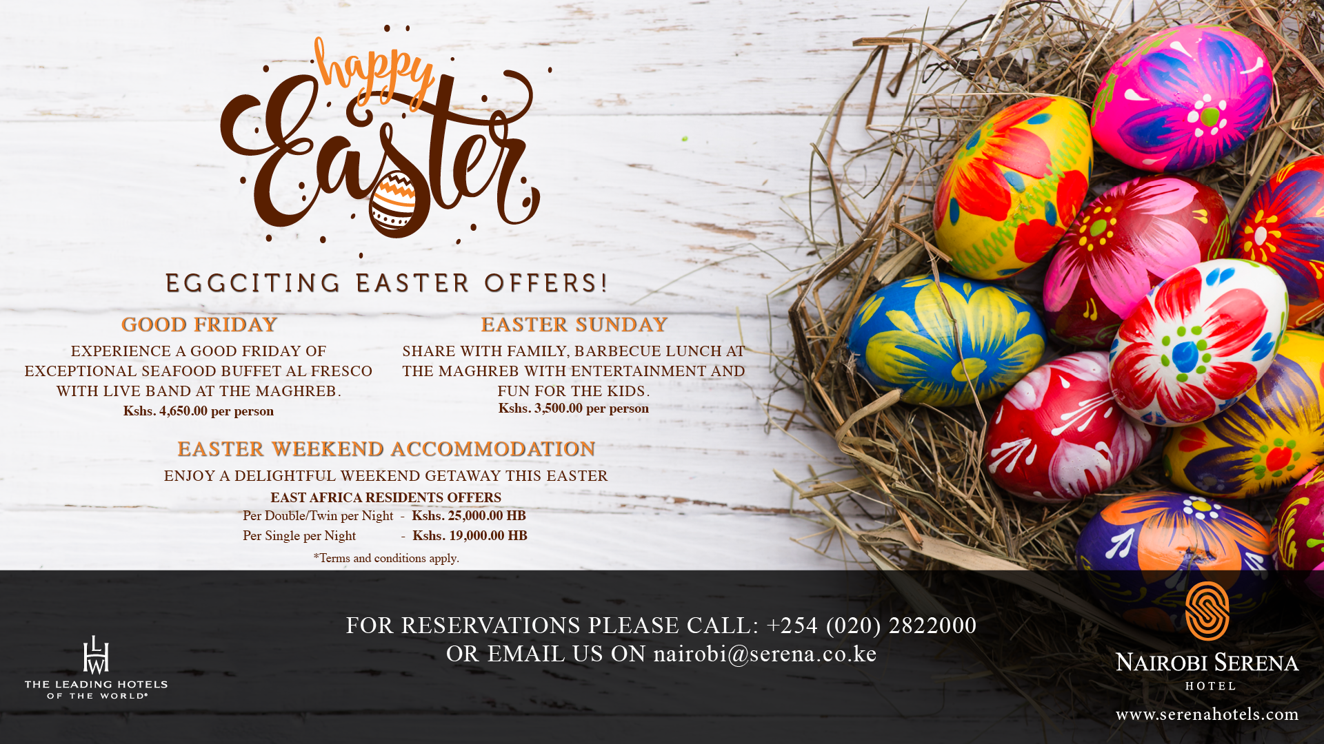 Enjoy the Easter goodies at the Nairobi Serena Hotel