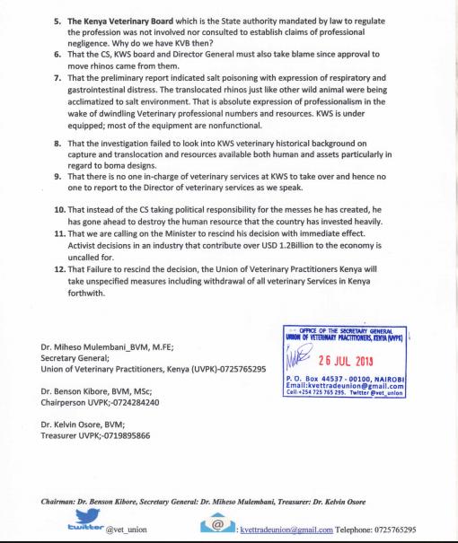 UVP Statement Rhino Deaths Kenya 2
