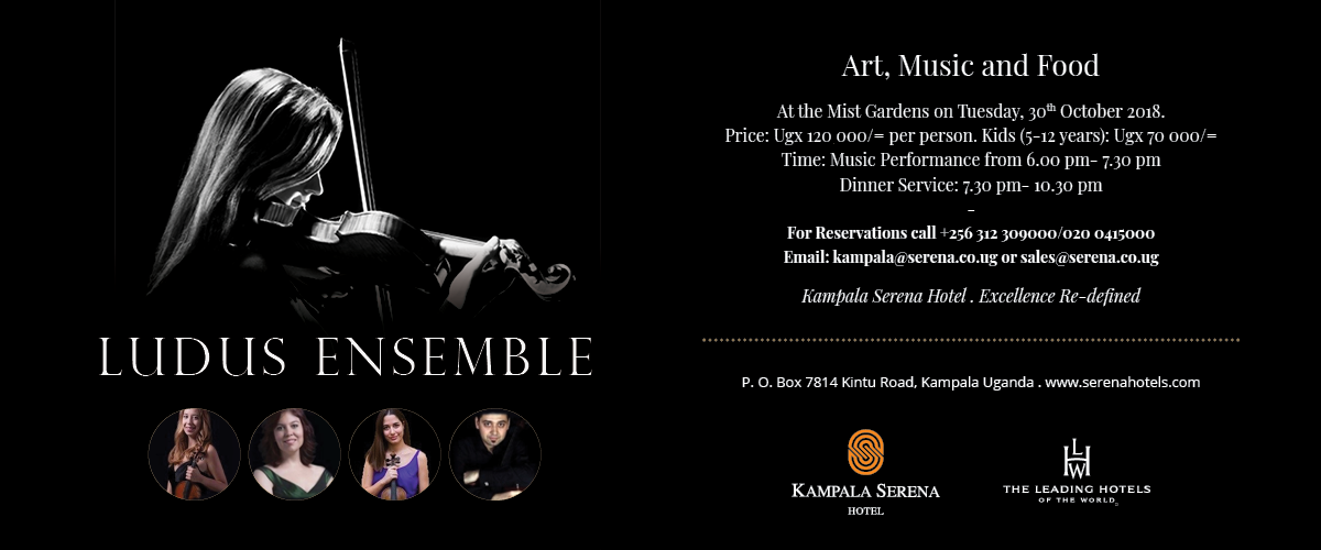 Art, Food and Music lovers mark the 30th of October in your diary ... only at the Kampala Serena
