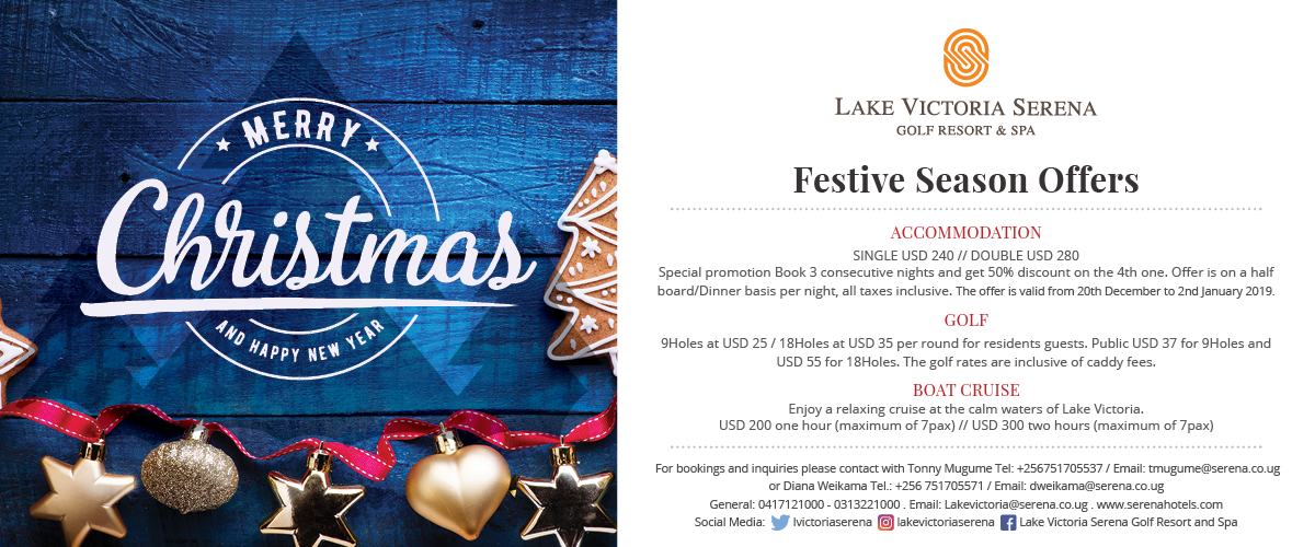 Spend the festive season this year at the Lake Victoria Serena Golf Resort & Spa
