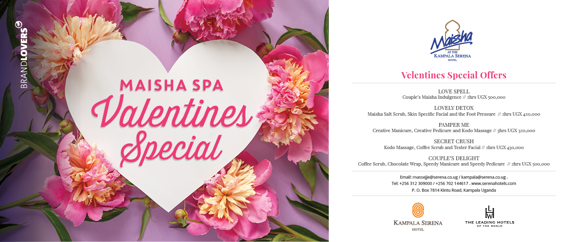 Try something special this year for your special Valentine! Take her or him to the Maisha Spa at the Kampala Serena ...
