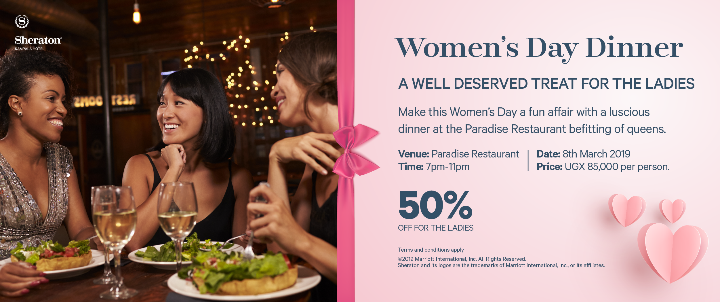 Important for the ladies, plenty of secure parking when you come to the Sheraton!