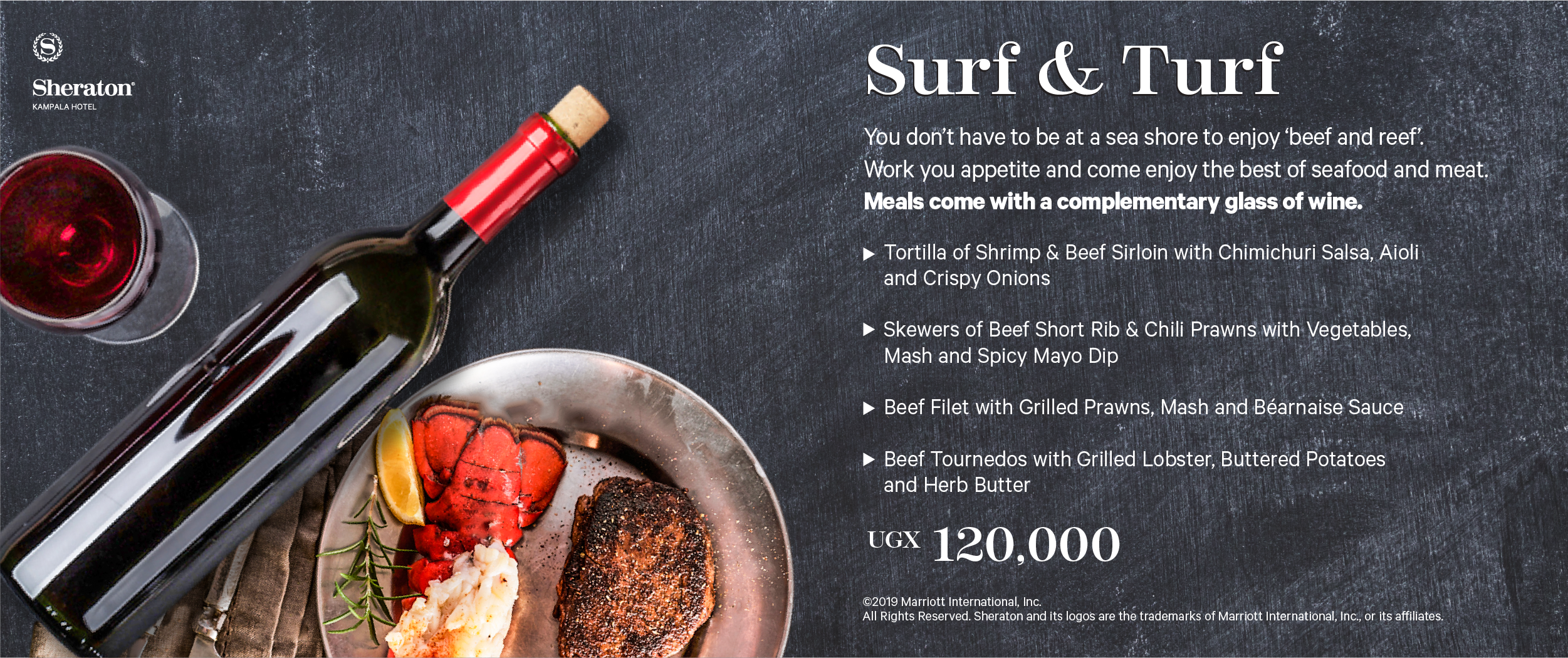 Surf and Turf - only at the Sheraton Kampala Hotel