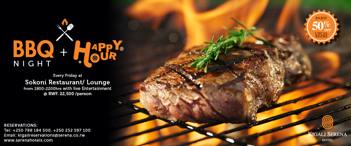 Enjoy a superb Happy Hour and BBQ Night at the Kigali Serena Hotel - 5 Stars all the way!