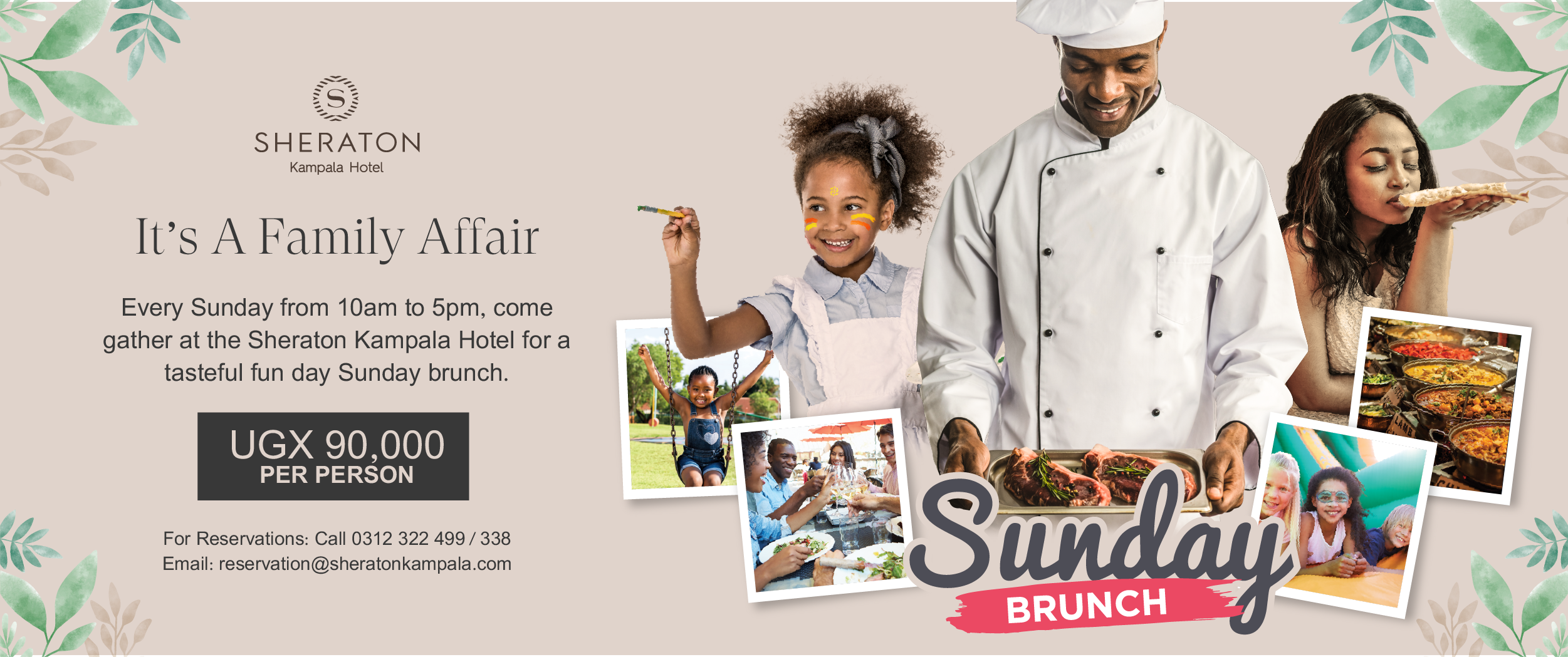 Sunday Family Brunch at the Sheraton Kampala Hotel - including ample secure parking!