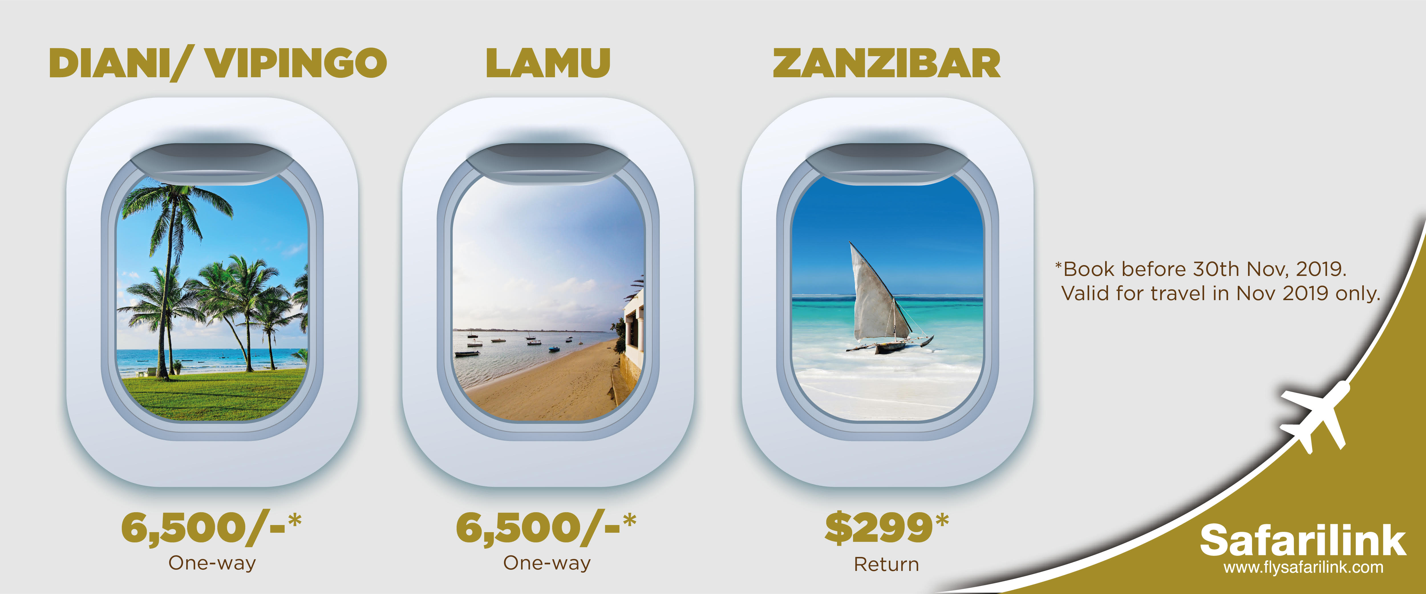 Enjoy a direct flight to the best Swahili beaches
