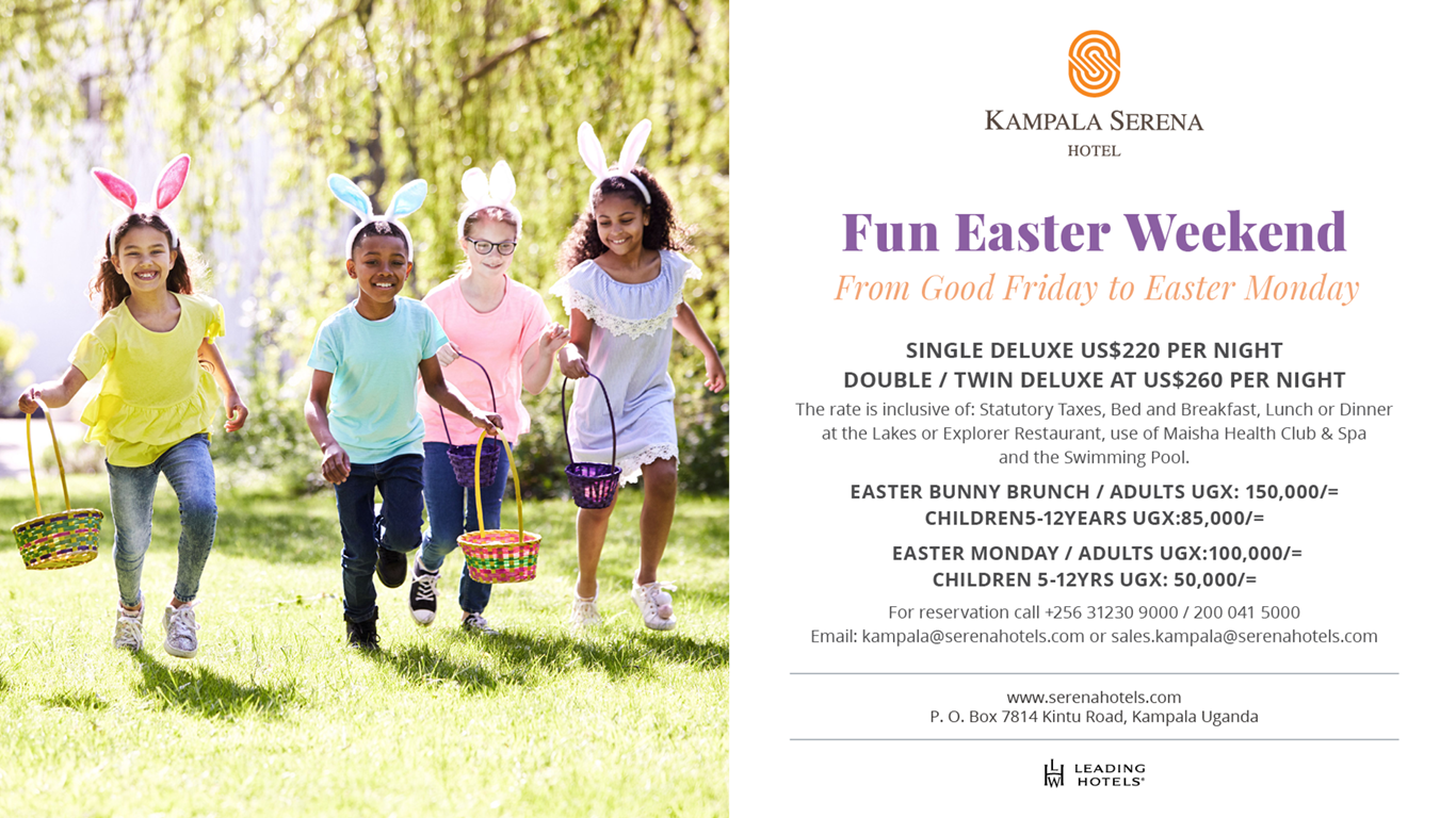 Take an Easter vacation at the Kampala Serena Hotel