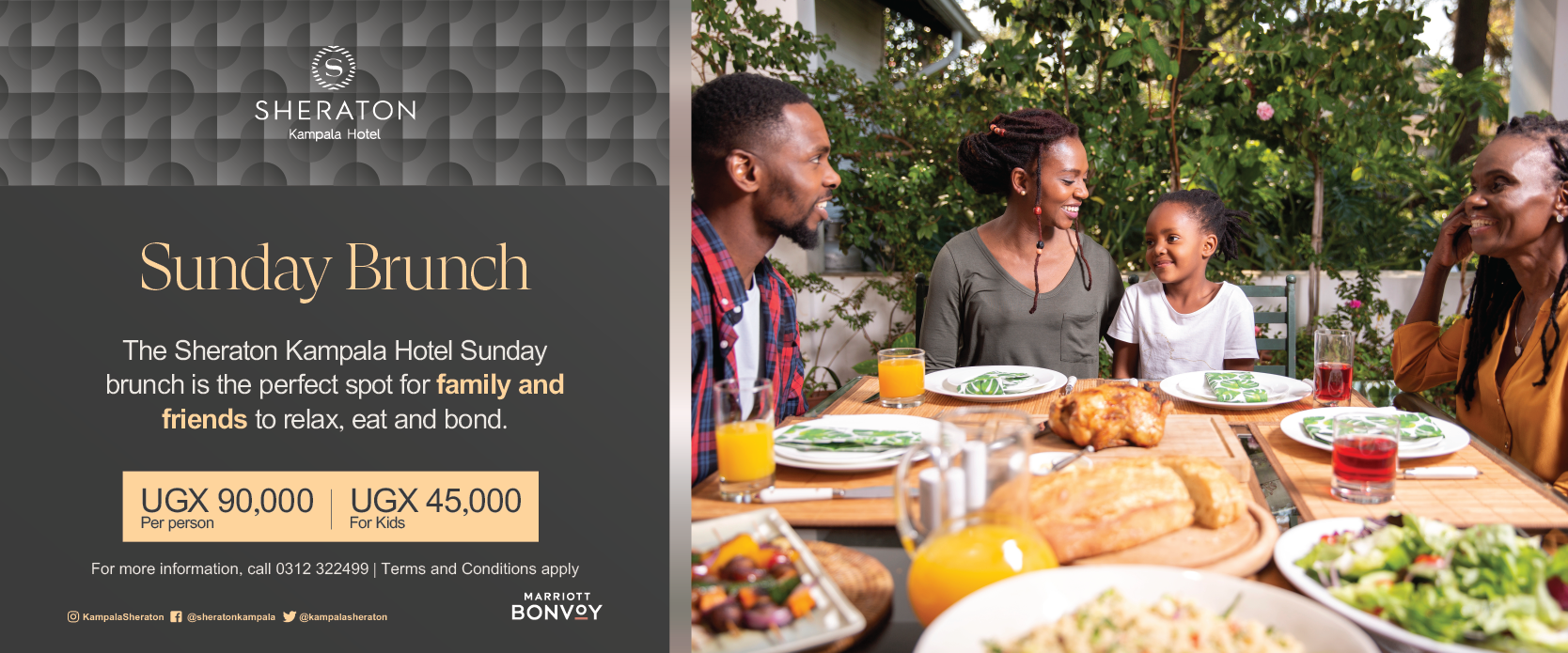 Enjoy a great Sunday brunch at the Sheraton Kampala Hotel