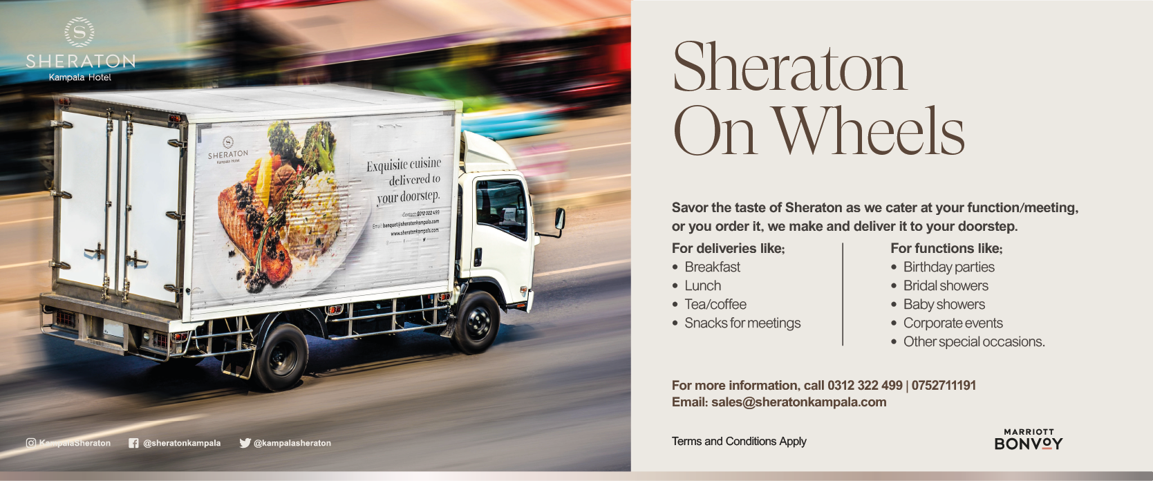 Outside catering required? Look no further, call the Sheraton Kampala Hotel