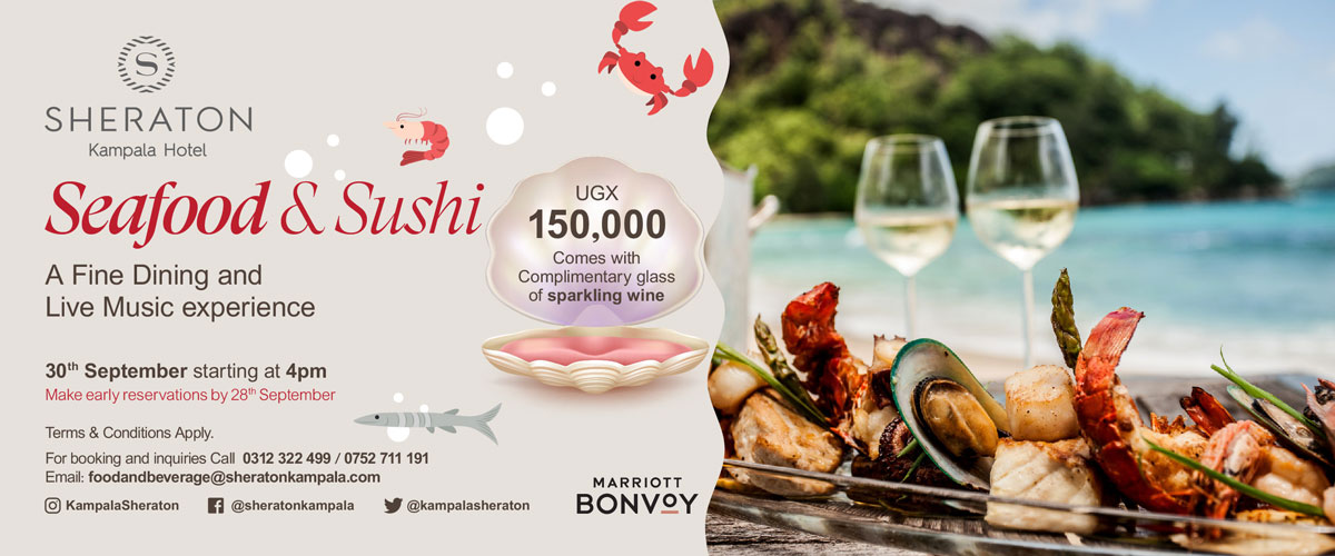Seafood galore at the Sheraton Kampala Hotel ... book your table now ...